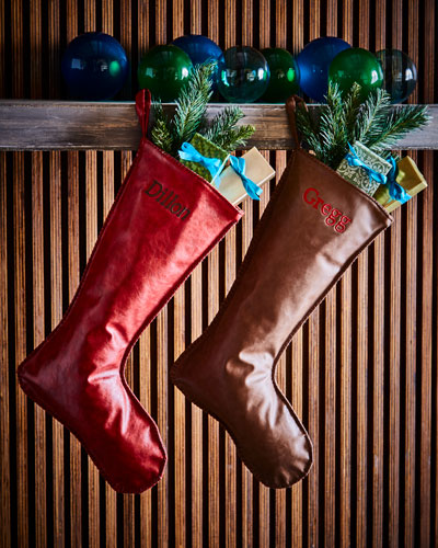 Faux-Leather Christmas Stocking