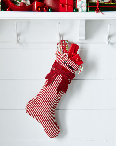 Stripe Christmas Stocking with Felt Bow