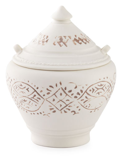 Lakki Covered Porcelain Vanity Jar, Taupe