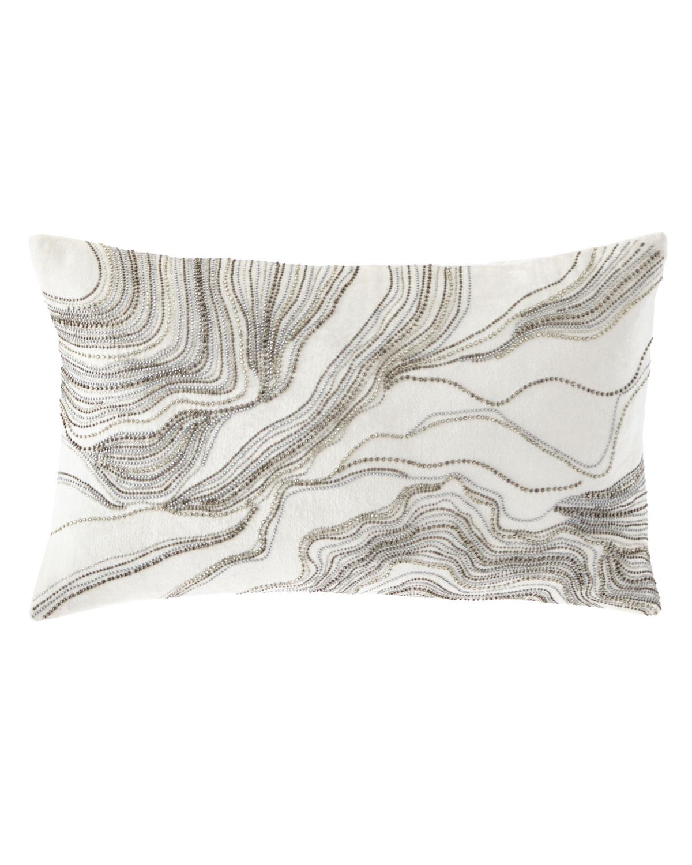 Silver Beaded Decorative Pillow