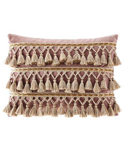 Wisteria Scroll Velvet Pillow with Tassels