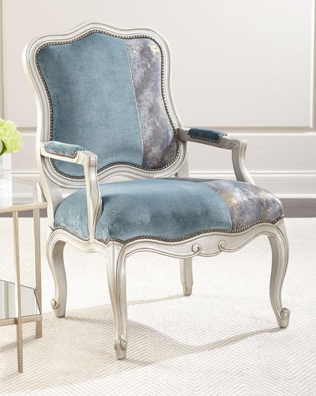 Massoud Lyle Velvet & Leather Bergere Chair