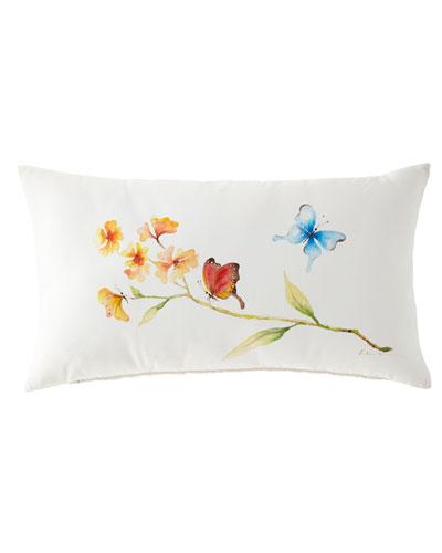 Hand-Painted Butterfly Lumbar Pillow, 15