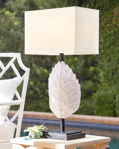 Tortoise Outdoor Table Lamp, White