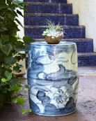 Garden Stool, Blue/White