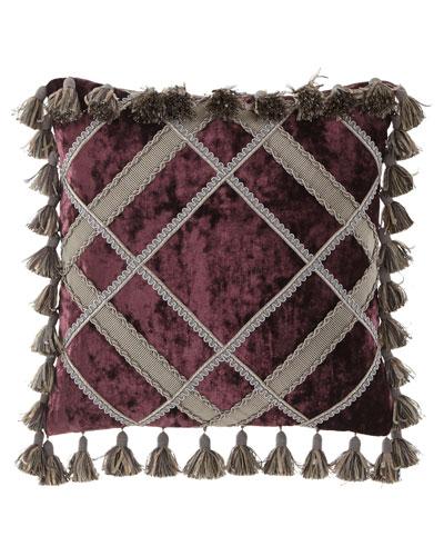 Aubergine Velvet Pillow with Tassels