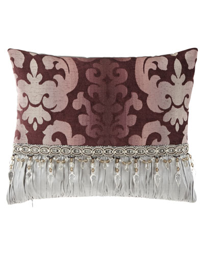 Aubergine Oblong Pillow with Beads