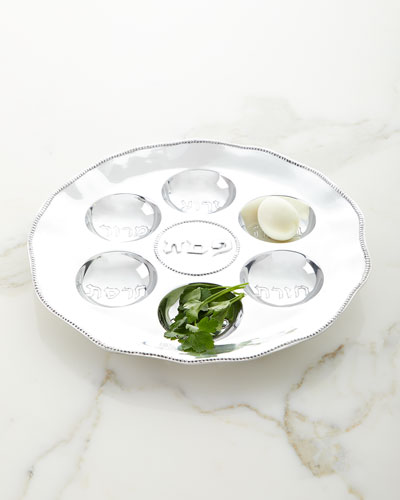 Judaica Seder Plate with Metal Pearls