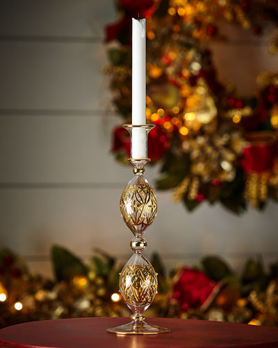 Glass with Gold Accent Candlestick, 13.2