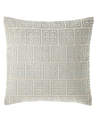 "Isabella Collection Lyssa Greek Key Pillow, 18""Sq."