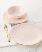 12-Piece Pink Lace Dinnerware Service