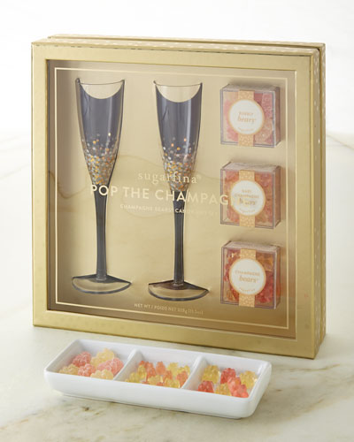 Pop The Champagne - Champagne Flutes & Candy Gift Set