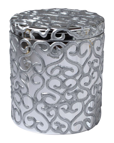 Jamila Glass Cotton Swab Jar, Silver