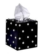 Nova Glass Tissue Box with Stones, Black