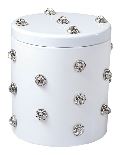 Nova Glass Cotton Swab Jar with Stones, White