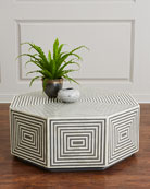 Farrah Octagonal Bone Inlay Coffee Table