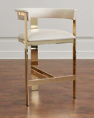 Darla Brass and Leather Bar Stool