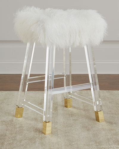 Darnell Acrylic and Sheepskin Counter Stool