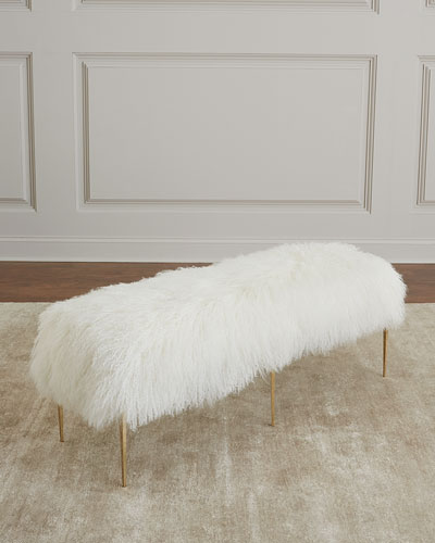 Antanette Sheepskin Bench with Stiletto Legs