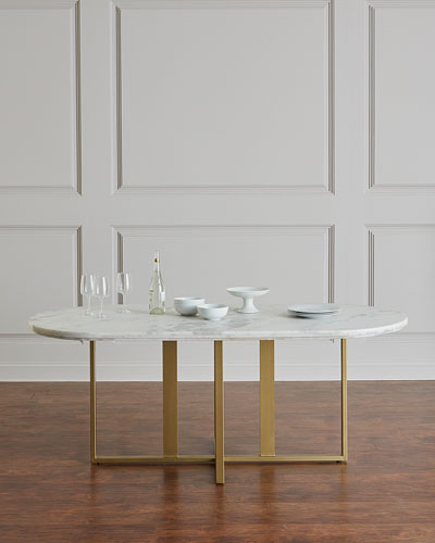 Dylia Marble and Brass Oval Dining Table