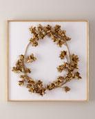 Golden Floral Crown on White Velvet Wall Art