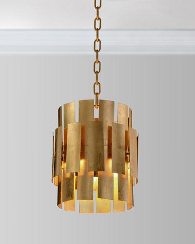 Triple gold leaf dome pendant