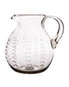 Floreado Mouth-Blown Glass Pitcher with Laurel Engraving