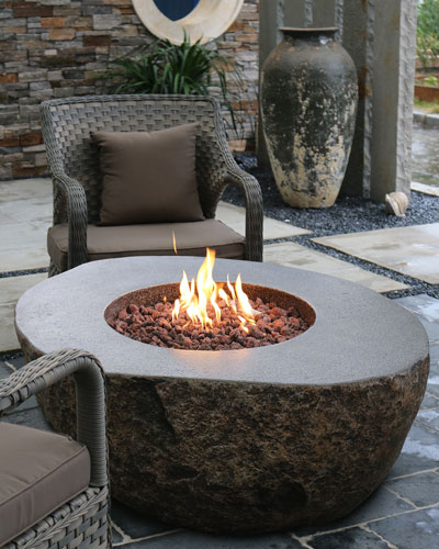 Boulder Outdoor Fire Table with Natural Gas Assembly