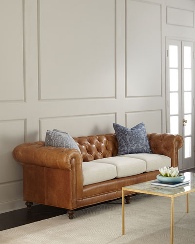 Clayton Tufted Leather Sofa