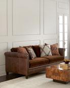 Durbin Leather and Mohair Sofa