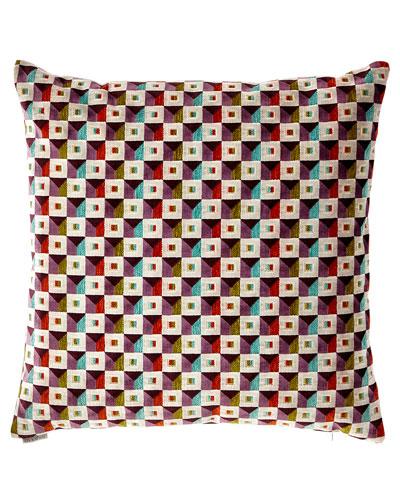 Collage-Print Decorative Pillow