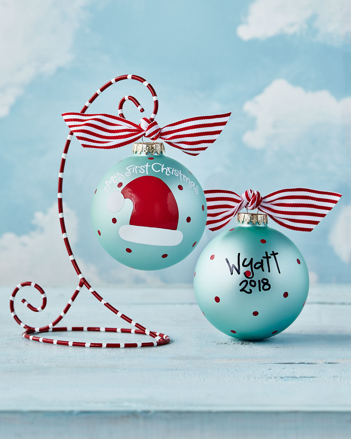 My First Christmas Santa Hat Glass Ornament with Stand, Boy