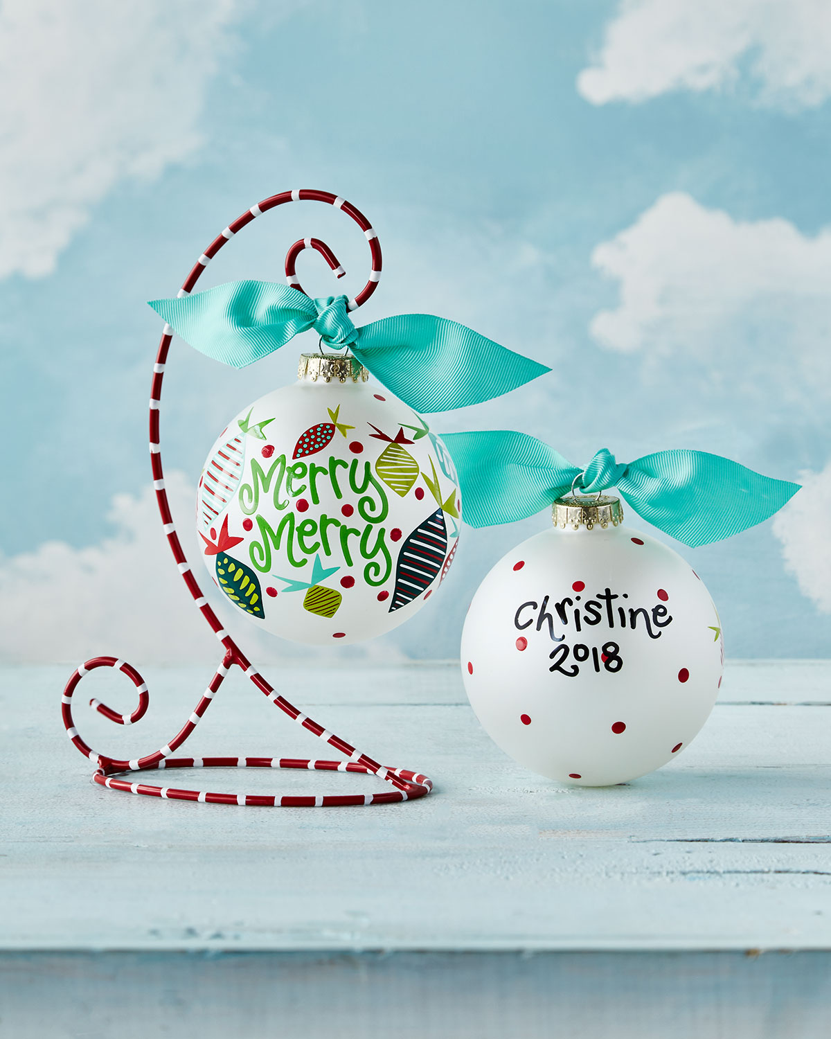 Merry Merry Baubles Glass Ornament with Stand