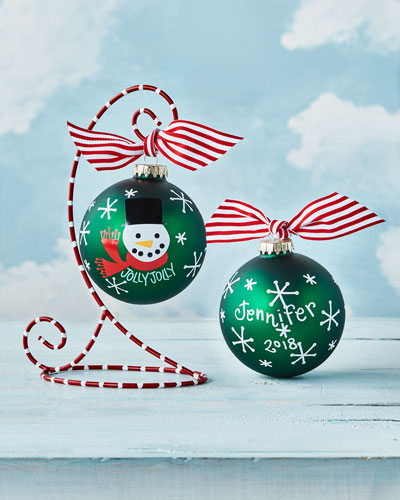 Jolly Jolly Snowman Glass Ornament with Stand