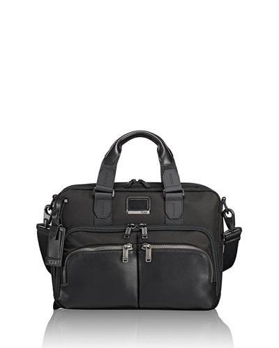 Albany Slim Compartment Briefcase, Black