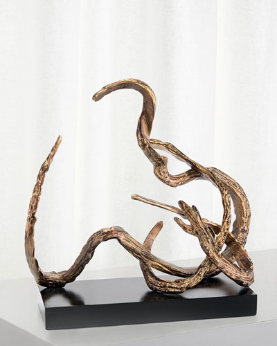 Organic Movement Sculpture in Antiqued Brass