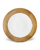 L'Objet Corde Wide-Rim Charger, White/Gold