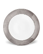 Corde Wide-Rim Charger, White/Silver