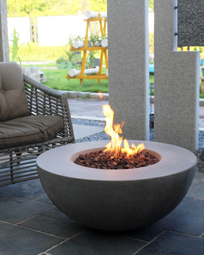 Lunar Bowl Outdoor Fire Table with Propane Gas Assembly