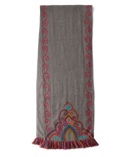 Stone Washed Embroidered Table Runner