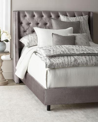 Neerah Velvet Tufted Queen Bed