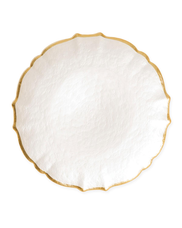 Vietri Dinnerwares PASTEL GLASS SERVICE PLATE/CHARGER, WHITE