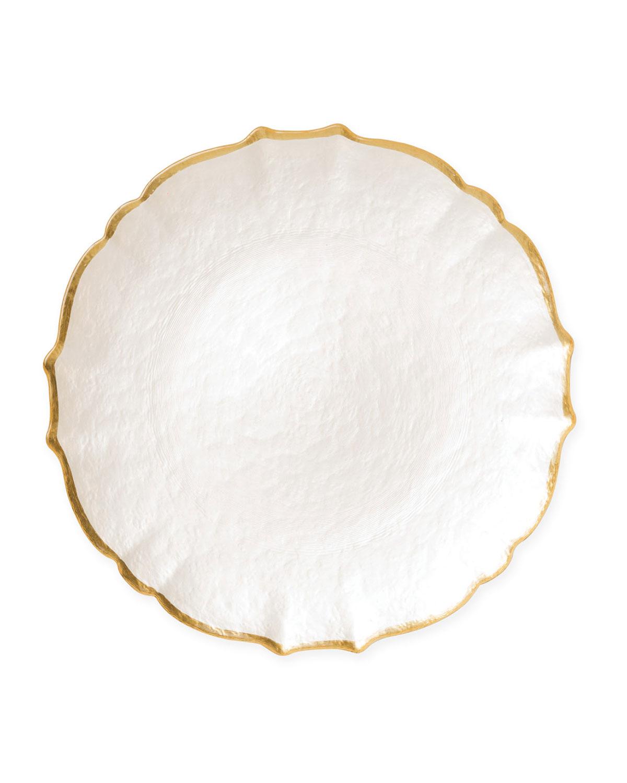 Vietri Dinnerwares PASTEL GLASS SALAD PLATE, WHITE