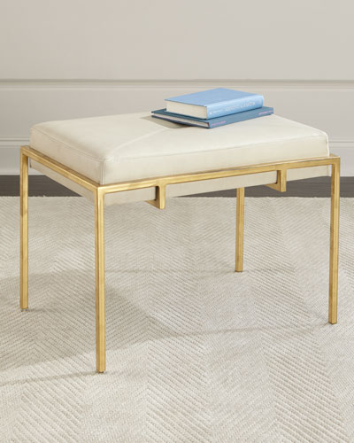 Metal and Leather Ottoman, Gold