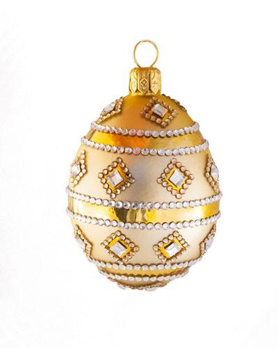 Medium Egg Stripe and Crystal Ornament