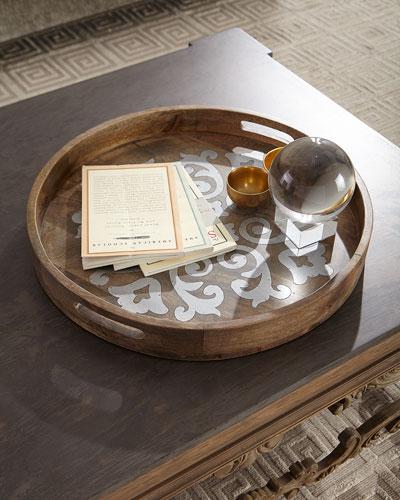 Round Wood Tray w/ Metal Inlay, 24