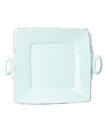Lastra Handled Square Platter, Aqua