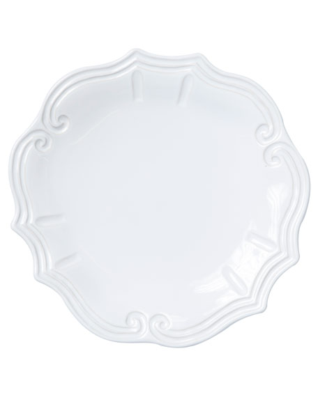 Vietri Incanto Stone Baroque Dinner Plate, White
