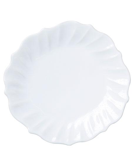 Vietri Incanto Stone Ruffle Dinner Plate, White