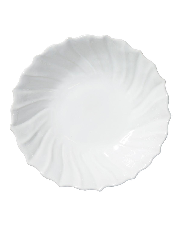 Vietri Dinnerwares INCANTO STONE RUFFLE LARGE BOWL, WHITE